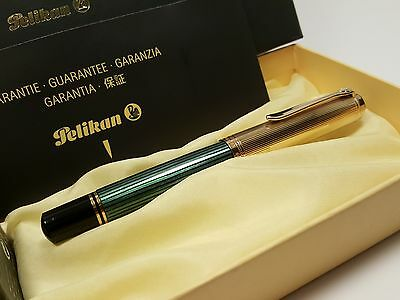 PELIKAN Souverän M1050 Green & Vermeil Ag925 Fountain Pen with 18C OBB NIB, NOS!
