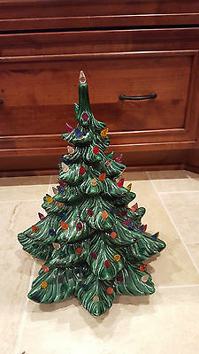 "Vintage Ceramic 14"" Green Christmas Tree Lights Multi-Colored Decoration Curio"