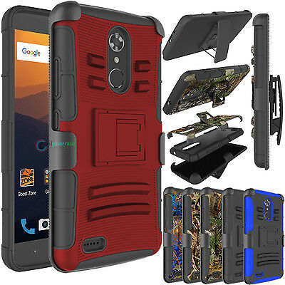 Hybrid Rugged Holster Kickstand Hard Armor Phone Case Cover for ZTE Max XL/N9560