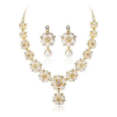 Wedding Bridal Party Prom Crystal Rhinestone Pearl Necklace Earrings Jewelry Set