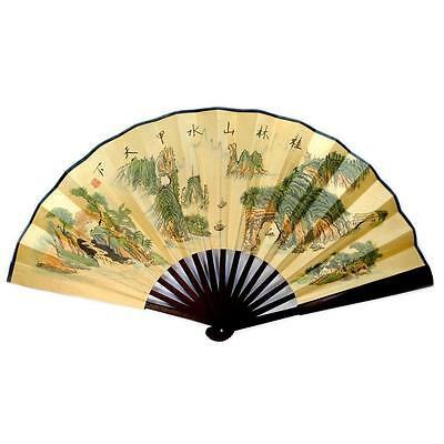 "ASIAN LANDSCAPE LARGE HAND FAN 13"" Folding Wall Chinese Bamboo  Mountains River"