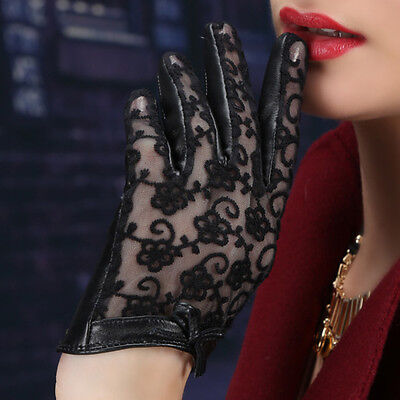 Black Women's Genuine Lambskin Leather and Lace Touch Screen Gloves Sunproof SML