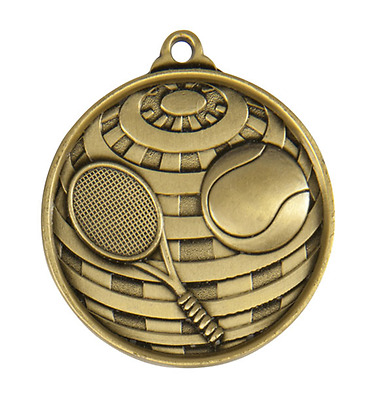Tennis Antique Gold 50mm Diameter  Medal Inc Neck Ribbon / Engraving