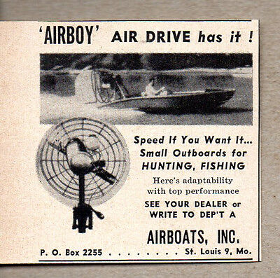 1956 Vintage Ad Airboy Air Drive Outboard Motors St Louis,MO