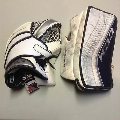 Winnipeg Jets Game Used Worn Ccm Trapper And Blocker Connor Hellebuyck 37
