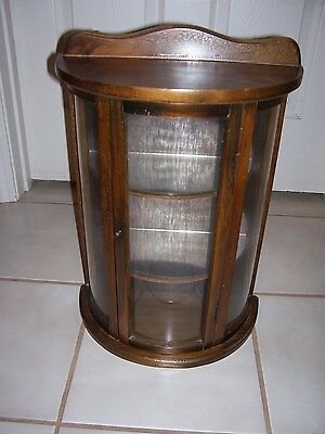 """Vintage Wood & Curved Glass Curio Tabletop or Wall 2 removeable shelves 19""""tall"""