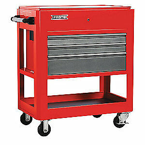 "PROTO Steel Tool Utility Cart,43"" H,3 Drawers, J559000-3SG, Red"