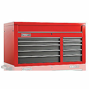 PROTO Steel Top Chest,50 in. W,10 Drawers, J555027-10SG, Red