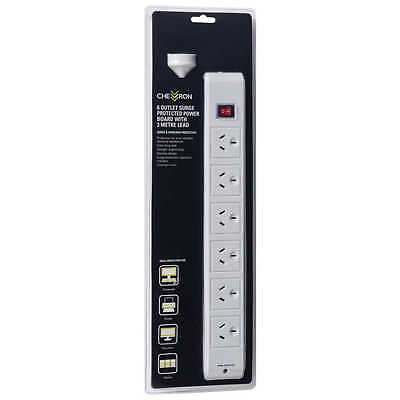 Chevron 6-OUTLET SURGE PROTECTED POWER BOARD WITH 3m LEAD FS-A702A-02, 2400W 10A