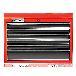 PROTO Steel Top Chest,27 in. W,6 Drawers, J542719-6SG, Red