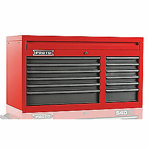 PROTO Steel Top Chest,41 in. W,12 Drawers, J544119-12SG, Red