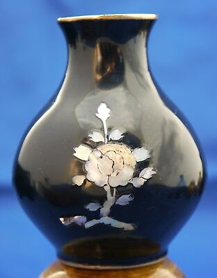 Vintage Korean Black Lacquer Over Brass Bud Vase w Inlaid Mother of Pearl Flower
