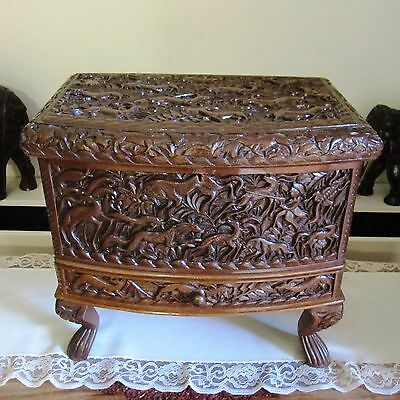 Vintage Detailed Carved Dark Wood / Timber Chest or Jewellery Box