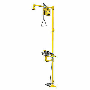BRADLEY Drench Shower With Face/Eyewash,Yellow, S19-310AC, Yellow