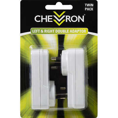 2x Chevron OPTIMISED LEFT & RIGHT DOUBLE ADAPTORS 2Pcs 250V 10A For Indoor Use