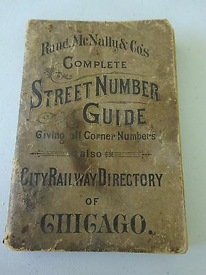1892 Rand McNally Street Number Guide Also City Railway Directory Chicago