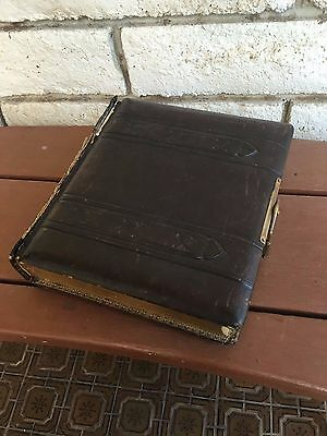 Antique Vintage Victorian Brown Embossed Photo Album With 32 pages