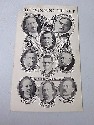 1926 Republican State Ticket 9 Picture Campaign Card, Myers Cooper, Frank Willis