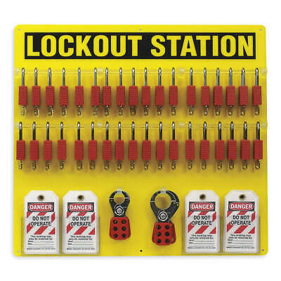 BRADY Polycarbonate Lockout Station,Filled,78 Components, 51195, Yellow