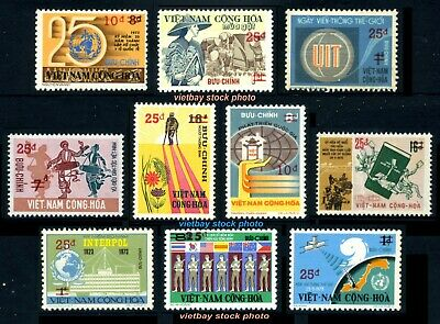 SOUTH VIETNAM 1974-75 Complete 10 Regular Surcharged Stamps w 2 Bars in Red MNH