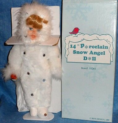 "PORCELAIN SNOW ANGEL DOLL 14"" Christmas Special  A9"