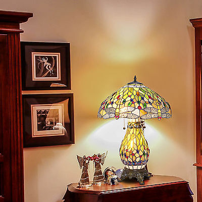 """Tiffany Style Dragonfly Green Table Lamp with a night light base 18"""" Shade"""