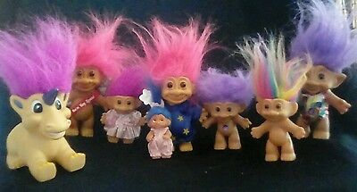 Troll Doll Lot of 8 Different Brands & Sizes Vintage Trolls w/Outfits