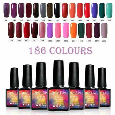 BELLE FILLE 10ml Nail Art Gel Polish Soak-off UV/LED Varnish DIY Salon 186 Color