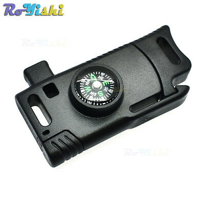 """3/8""""(11mm) Flint Fire Starter Compass Whistle Buckle Emergency Survival Paracord"""