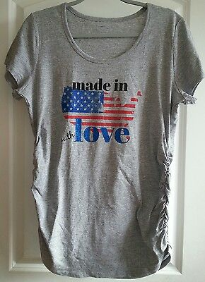 Motherhood Gray Maternity Top Size L Made In (USA Flag) With Love NWOT