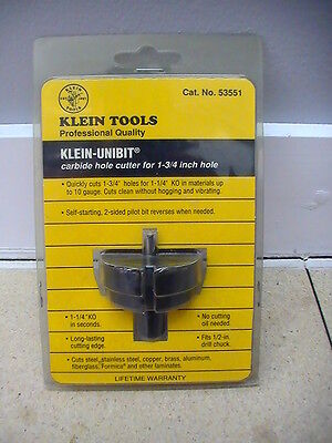 """Two Klein Carbide Hole Cutters 53551 (1 3/4"""") 53457 (1 7/32"""") New In Packages"""