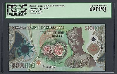 Brunei 10000 Ringgit 2006 P33a Issued  Uncirculated Graded 69