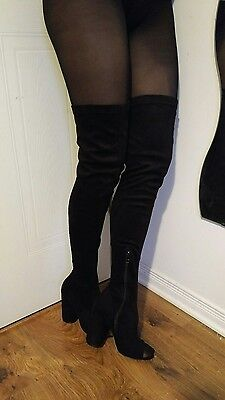 womens black over the knee boots with peep toe