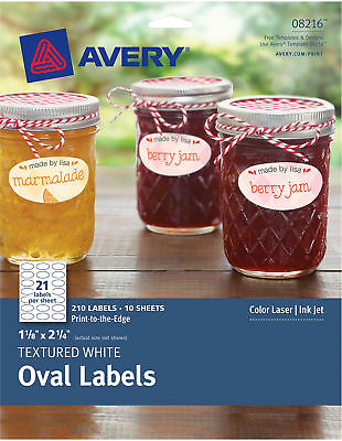 """Avery Dennison 8216 Textured Oval Labels 1-1/8""""X2-1/4"""" 210/Pkg-White"""