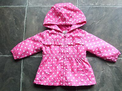 BNWNT Baby Girl's Pink & White Hearts Polar Fleece Lined Hooded Raincoat Size 0