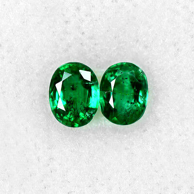 0.59 Cts Natural Lustrous Top Rich Green Emerald Oval Cut Pair Zambia Gemstone $