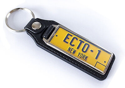Ghostbusters License plate (ECTO-1) Medallion Keyring