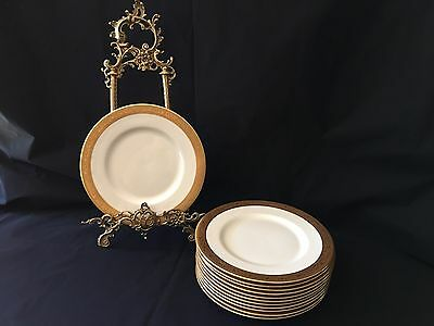 "Set Of 12 Antique Royal Doulton Raised Gold Gilt bone Dinner Plates 10 "" Round"