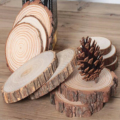 Round Wood Log Slice Outdoor Rustic Wedding Table Decor Cake Stand Dessert Plate