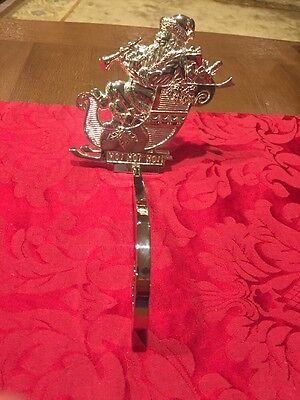 NEVER USED Department 56 Silver Stocking Hanger Ho Ho Ho Santa On A Sleigh