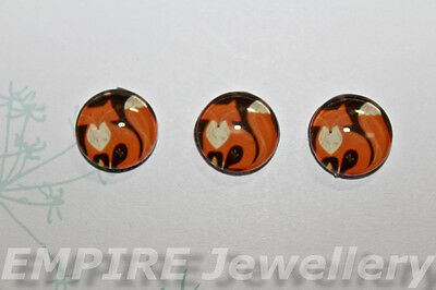 2 x Cute Woodland Fox 12x12mm Glass Cabochons Cameo Dome Orange