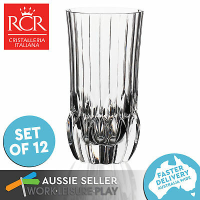 12x RCR Italian Crystal Glass Collection High Quality Tumbler Glasses 400ml