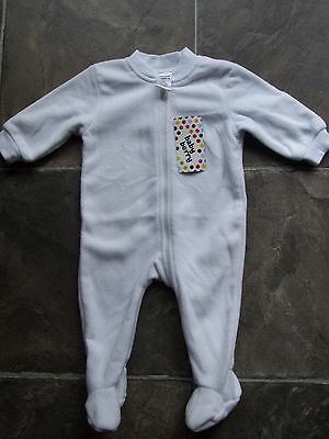 BNWT Baby Boy's/Girl's Unisex White Polar Fleece Coverall/Sleeper Size 00