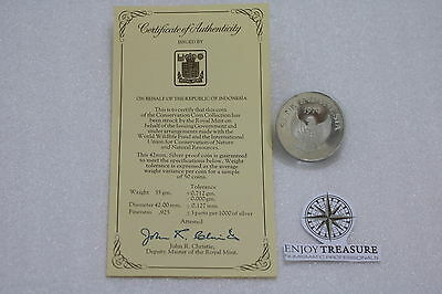 INDONESIA 1974 5000 Rupiah Orangutan Silver Crown Proof WWF WITH COA A67 CG44 -5