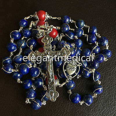 RARE Sterling Silver Lapis lazuli Beads Rosary CROSS CRUCIFIX CATHOLIC NECKLACE