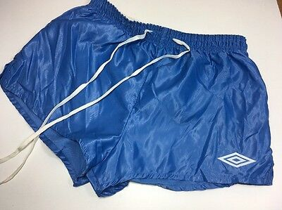 "Vintage 1980s UMBRO Football Sport SHORTS Shiny Glanz Mens 30"" Small Silky Blue"