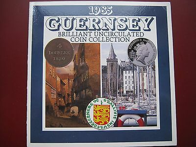 Guernsey 1985 7 coin set BUNC sealed in Royal Mint folder 1 Penny - £1 Pound