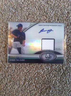 ++ Jake Mcgee 2011 Bowman Auto & Relic #'d Baseball Card #jm - Tampa Bay Rays ++