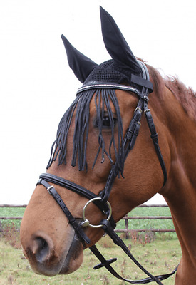 New Waldhausen Ride In Anti Fly Veil With Ears Fringe Full/Cob Pony 632201