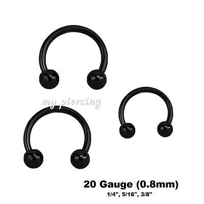 PAIR 18G  2g Black IP Spike Horseshoe Circular Barbell Ear Tragus Septum Labret